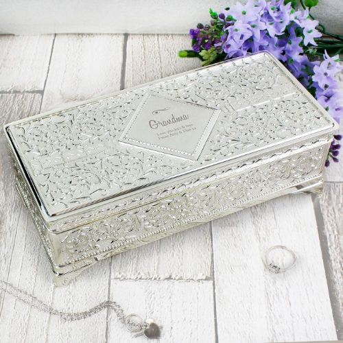 Personlised Antique Silver Plated Jewellery Box Gift For Her